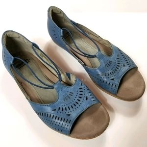 Earth Leather Perforated Slip on low heel Shoe